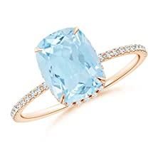 buy Claw Cushion Aquamarine Solitaire Ring With Diamond Shoulders In 14K Rose Gold