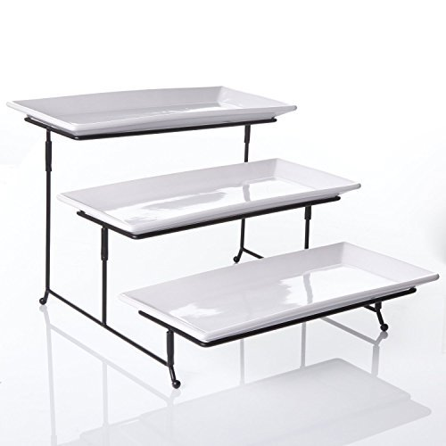 3 Tier Rectangular Serving Platter, Three Tiered Cake Tray Stand, Food Server Display Plate Rack, White (Server Food compare prices)