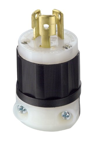 Leviton 4720-C 15 Amp, 125 Volt, NEMA L5-15P, 2P, 3W, Locking Plug, Industrial Grade, Grounding - Black-White (Locking Plug compare prices)