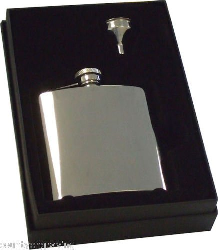 Personalised 6oz Hip Flask set with gift box Engraved Free