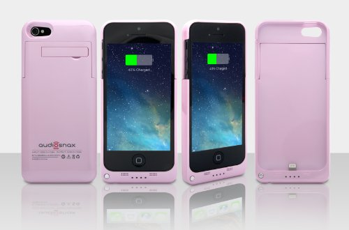 2200Mah Extended Battery Case Back Up Power Bank For Iphone 5 / 5S Back Up (Ios 7 Or Above Compatible) + Lightning Charging Port + Kick Stand + Slim Fit Slider Design + Full Body Protection + On/Off Switch Led Battery Level Indicator, Compatible With At&T