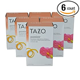 Tazo Passion Herbal Infusion Tea, Caffeine Free, 20-Count Tea Bags (Pack of 6)