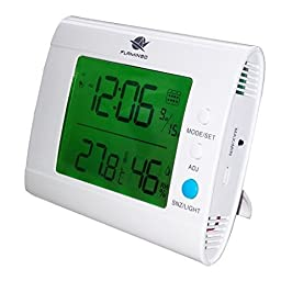 SH100 White Indoor Thermometer and Hygrometer with Calendar