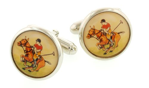 JJ Weston polo player image cufflinks with presentation box. Made in the USA