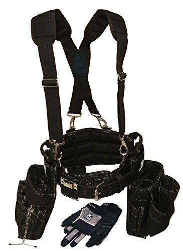 Contractor Pro Electricians Combo Deluxe Package (Tool Belt, Suspenders, Gloves, Bucket Tote) Great Durable Belt with Ventilated Back Support with Suspenders and Extras for Any Job for Electricians, Carpenters, Drywaller, Hvac. (Large) (Hvac Tool Belt compare prices)