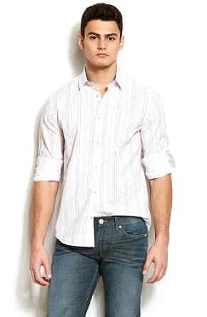 (新品)阿玛尼Armani Exchange Dash Stripe Dress 男士精品条纹棉质衬衫折后$34.3第3方