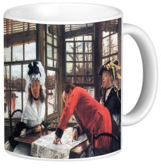 Rikki Knighttm James Tissot Art An Interesting Story Design 11 Oz Photo Quality Ceramic Coffee Mug Cup - Fda Approved - Dishwasher And Microwave Safe