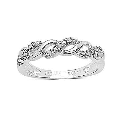 The Diamond Ring Collection: Beautiful 0.05CT Diamond 3 Row on the Twist Eternity Ring in Sterling Silver with Rhodium Overlay