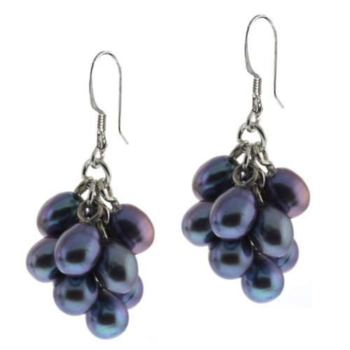Genuine Black Grape Freshwater Pearl Cluster 925 Sterling Silver Hook Earrings