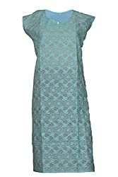 Tulip Collections Women's Cotton Straight Kurta,Blue_L