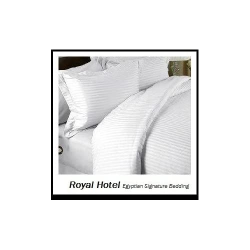 Vintage Royal Hotel us Striped White Thread Count pc King Bed Sheet Set Percent Egyptian Cotton Sateen Deep Pocket Cotton