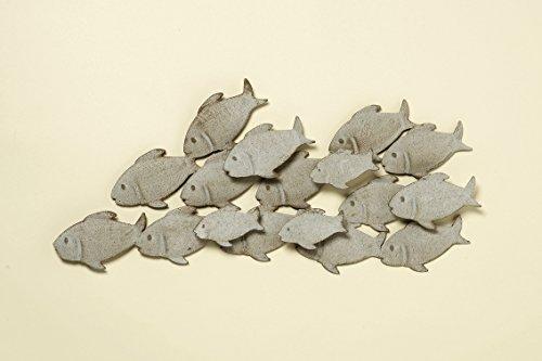 Decorazione da parete in ferro, banco di pesci, colore grigio opaco