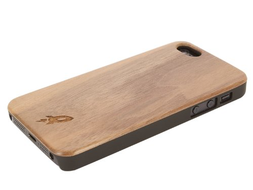 Great Price Woody Hybrid iPhone 5 Wood Case by Rocketcases - Wooden iPhone 5 Case - Real Dark Walnut Wood Grain - Ultra Slim Design & Superior Fit - iPhone 5S & iPhone 5 Compatible - AT&T, Verizon, Sprint, Unlocked (Dark Walnut)