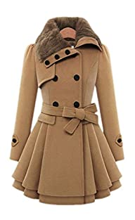 Babyonline Women's Fashion Faux Fur Lapel Double-breasted Thick Wool Trench Coat