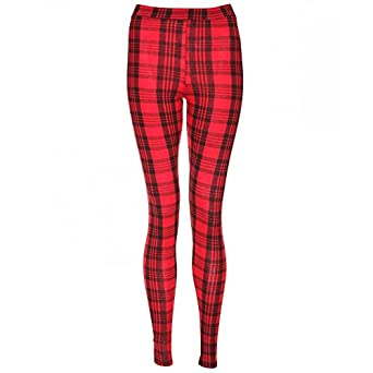 Womens Red Tartan Pattern Stretchy Leggings