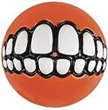 Rogz Grinz Dog Toy Ball to Hide Treats, Large, Orange