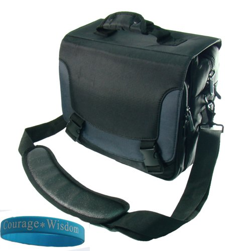 SumacOne JVC Camcorder Bag for JVC MiniDV Camcorder JVC GR-DA30US JVC GR-D850 GR-D250 GR-D270 GRD796 GRDV800 GR-DVL520U GR-D870 GR-D370 GRDV500 GRD770 GR-D350 GRD33 Message Bag, Black with Blue Accent