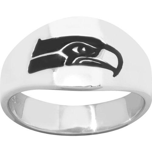 Logoart Seattle Seahawks Men's Sterling Silver Cigar Ring Size: 12