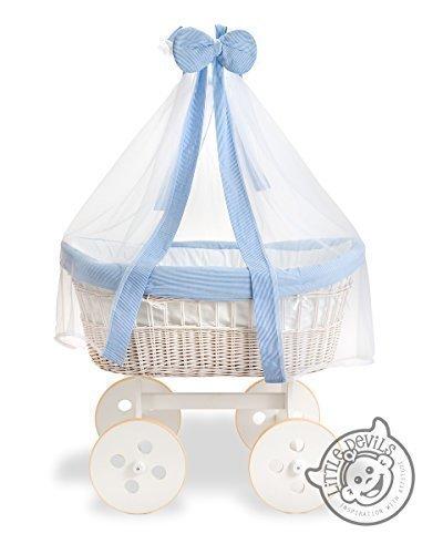 Korbwagen Baby Krippe Bett Wiege Weiße Ausführung & Blauer Rand Baby Bett (Mit Vorhang & Bettset) bestellen