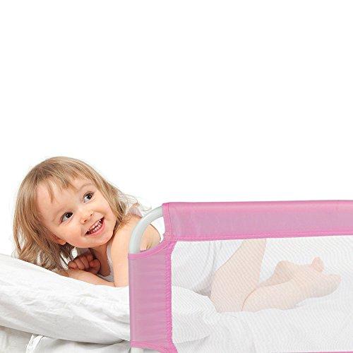 Tectake barriera per letto da bambini sponda ribaltabile pieghevole universale 102cm rosa - Barriere letto per bambini ...