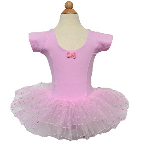 Kids Girl Dance Dress Ballet Tutus 2-7 Years (3-4, Pink Short Sleeve)