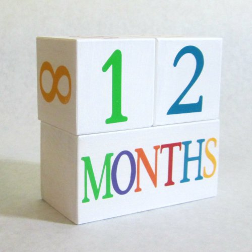 Baby Age Blocks: Shower Gift, Photo Prop & Nursery Decoration - Colorful On White Age Blocks front-174567