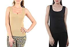 Lady Heart Women's Black & Beige Cotton Regular Strap Tank Top Camisole Free Size - S / M / L . Pack Combo of 2