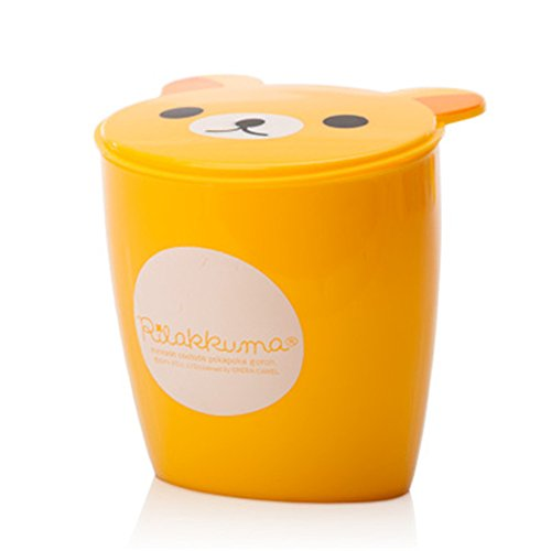 Moolecole Fashion Creative Cute Yellow Bear Plastic Trash Bin Waste Bin Table Office Desk Mini Dustbin Trash Can (Bears Garbage Can compare prices)