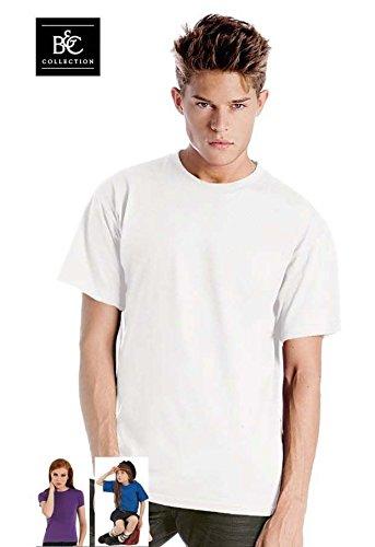 Maglietta Maniche Corte Uomo B&C Exact 150 T Shirt Maglia Manica Corta Cotone, Colore: Bianco, Taglia: L