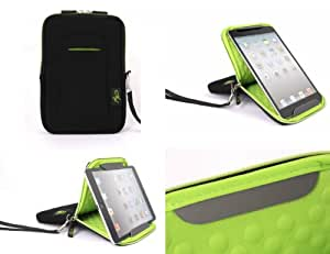 SALE 75% Off - AYL Padded Neoprene 7 Inch Tablet Zip Sleeve Case Cover with Built-in Landscape / Portrait Viewing Stand - Black / Green