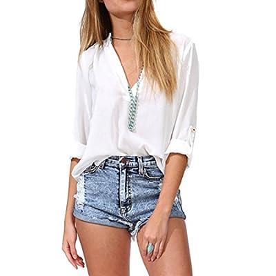 QIYUN.Z Women Chiffon Blouse Loose Shirt Long Sleeves Deep V-neck Chemises