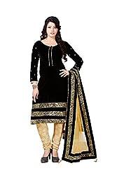 Mandani Fashion women's Velvet Party Wear Unstitched dress material(SF209_Black color)