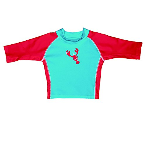 iplay-mod-3qtr-sleeve-rashguard-aqua-red-lobster-size-m-0-12-mois-sun-protection-50-