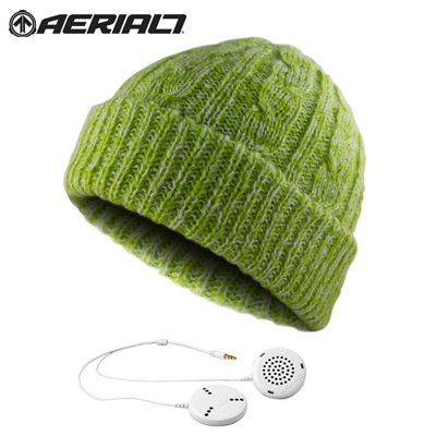 Aerial7 Sound Disk Journey Sports Beanie Headphones Headset With Built-In In-Line Smartphone Microphone For Iphone And Blackberry, 56170 (Lime Green)