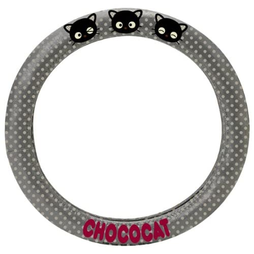 ... Chococat/hello Kitty Steering Wheel Cover Gray/black/red Closeup Cute