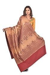 Weavers Villa - Womens Maroon Spray Jaal Woven Kashmiri Shawls , Stoles