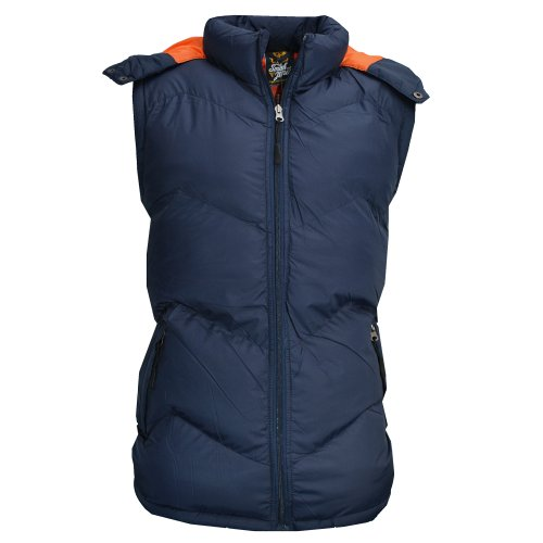 Smith & Jones Hooded Quilted Bodywarmer Gilet Jacket Navy Blue Mens Size XXL