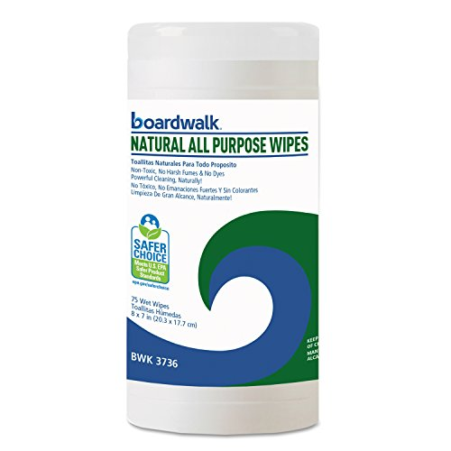 "Boardwalk 3736 Natural All Purpose Wipes, 7"" x 8"", Unscented (Pack of 6)"