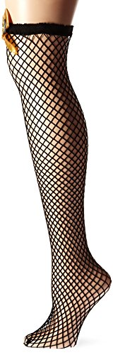 Fever Women's Lattice Net Hold-Ups with Cogs and Bows In Display Box, Black, One Size