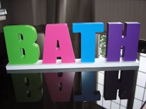 Colourful wooden bath sign funky bathroom accessory for Funky bathroom accessories