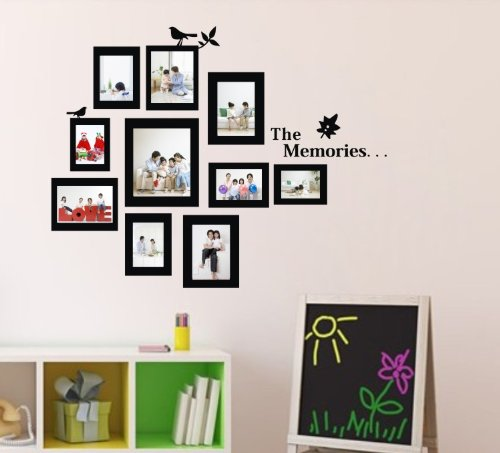 "2014 New Black Hot Sale 3D Art Wall Sticker Murals Living Room Children'S Bedroom Decoration Sofa Tv Background Diy Wall Decal Black Photo Picture Frame Tree Size-23.6"" X 28.7"""