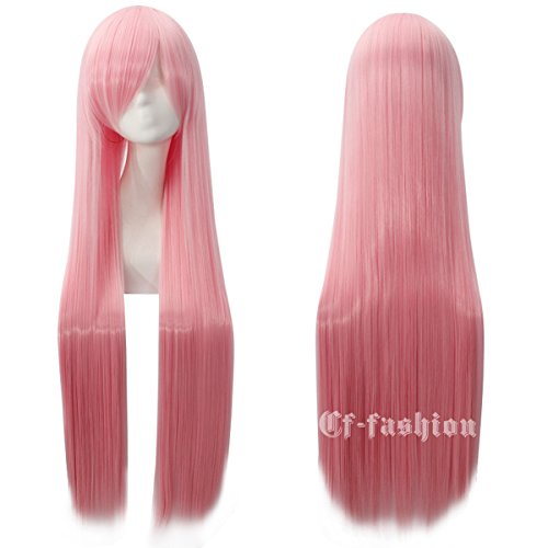 Cfalaicos 100CM 40'' Long Straight Multifunctional Heat Resistant Rose Net Cosplay Wigs with Free Wig Cap (Pastel Pink)