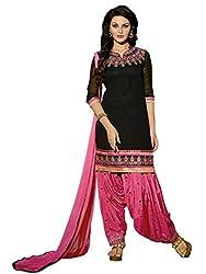 Blissta Black Georgette Embroidered Patiyala Salwar Suit Dress Material
