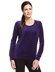 M&S Collection Cotton Rich Velour Sweat Top