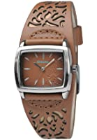 Kahuna Women's Quartz Watch with Brown Dial Analogue Display and Brown Leather Cuff KLS-0219L