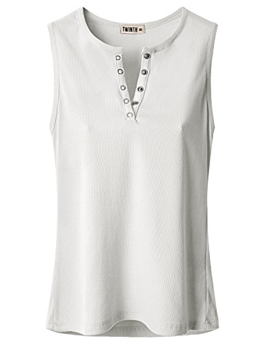 Doublju Women Sexy Vivid Color Sleeveless Plus Size T-Shirt WHITE,3XL