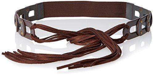 Steve Madden Women's Link Tab Tie Front Stretch Back Belt, Brown, Medium/Large