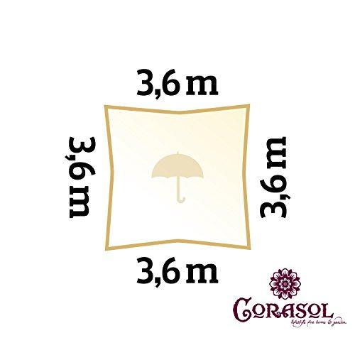 Corasol COR11SQ36-CW - Vela de sombra para patio (resistente al agua), color beige, 3,6 x 3,6 m