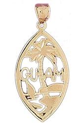 14K Yellow Gold 39mm Guam Pendant (approx. 2.5 grams)