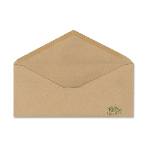 Image of Ampad Envirotec 100% Recycled Business Envelopes, # 10,  22 Pound Paper, Gummed Closure, V-Flap, 500 Per Box (19702)